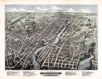 Pawtucket and Central Falls 1877 Bird's Eye View 17x22, Pawtucket and Central Falls 1877 Bird's Eye View